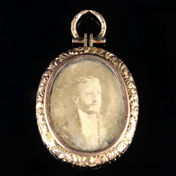 ANTIQUE VICTORIAN DOUBLE PICTURE LOCKET GOLD CIRCA 1890