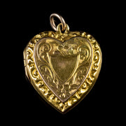 ANTIQUE VICTORIAN FORGET ME NOT HEART LOCKET 9CT GOLD CIRCA 1900