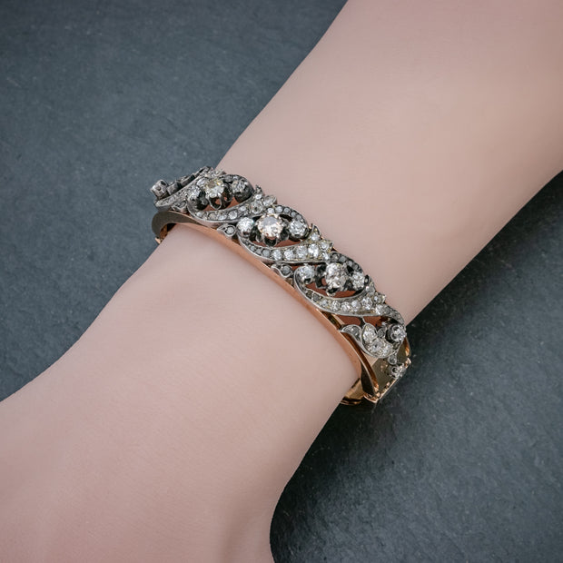 ANTIQUE VICTORIAN FRENCH DIAMOND BANGLE FANCY DIAMONDS 18CT GOLD 5CT OF DIAMOND BOXED