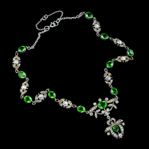 ANTIQUE EDWARDIAN GREEN PASTE LAVALIERE NECKLACE STERLING SILVER CIRCA 1905