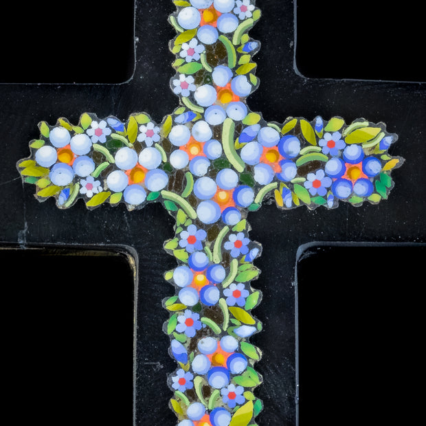 ANTIQUE VICTORIAN MICRO MOSAIC CROSS PENDANT FORGET ME NOTS CIRCA 1860 BOXED