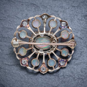 ANTIQUE VICTORIAN OPAL DIAMOND BROOCH NATURAL 5.1CT OPALS CIRCA 1900