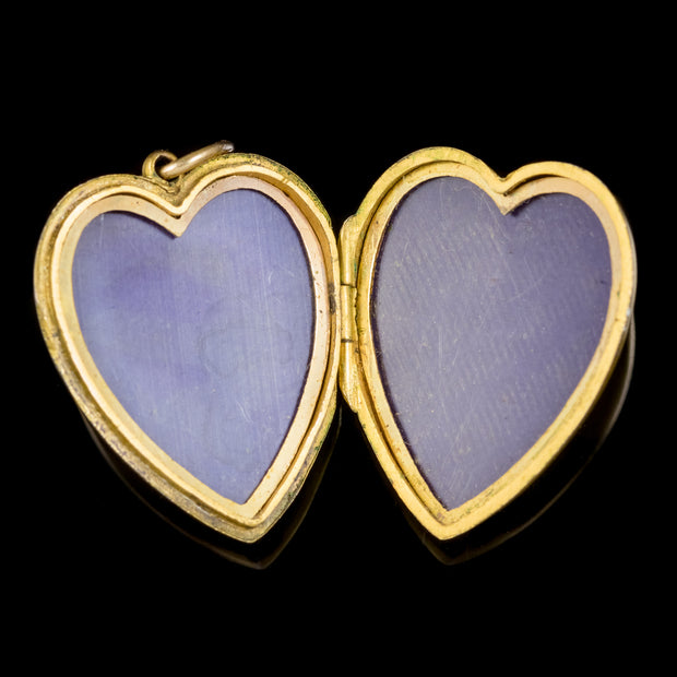 ANTIQUE VICTORIAN PASTE LYRE HEART LOCKET 9CT GOLD BACK AND FRONT CIRCA 1900