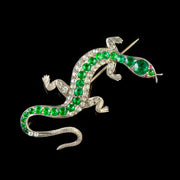 ANTIQUE VICTORIAN PASTE SALAMANDER BROOCH 9CT GOLD SILVER CIRCA 1880