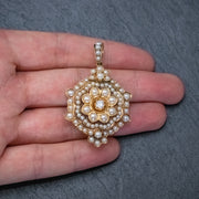 ANTIQUE VICTORIAN PEARL DIAMOND FLOWER PENDANT 18CT GOLD CIRCA 1900