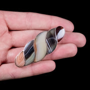 ANTIQUE VICTORIAN SCOTTISH AGATE TWIST BROOCH SILVER CIRCA 1860