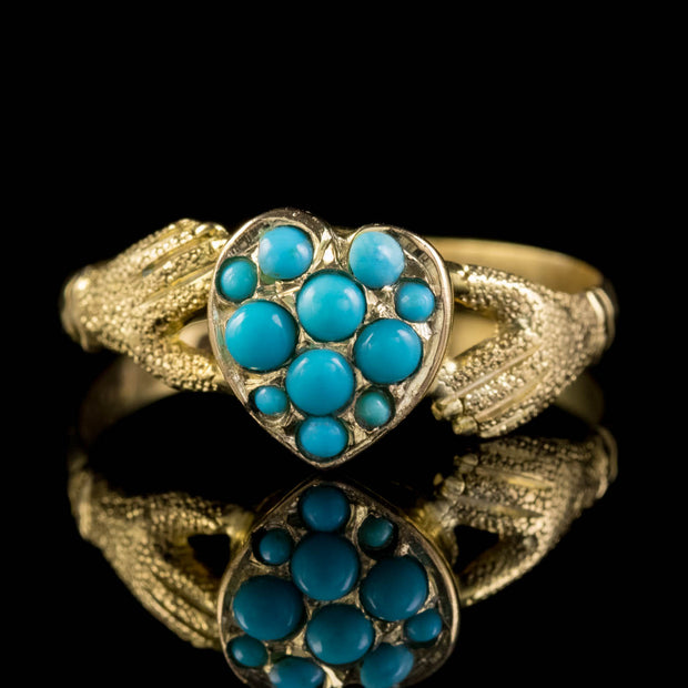ANTIQUE VICTORIAN TURQUOISE HEART CLADDAGH LOCKET RING 9CT GOLD DATED 1872