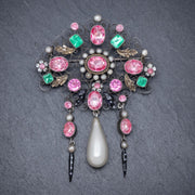 ANTIQUE EDWARDIAN PASTE PEARL SUFFRAGETTE BROOCH SILVER CIRCA 1910