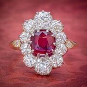ANTIQUE VICTORIAN 1.60CT RUBY 3CT DIAMOND CLUSTER RING 18CT GOLD CIRCA 1880
