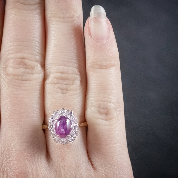 ANTIQUE VICTORIAN CABOCHON STAR RUBY & DIAMOND RING
