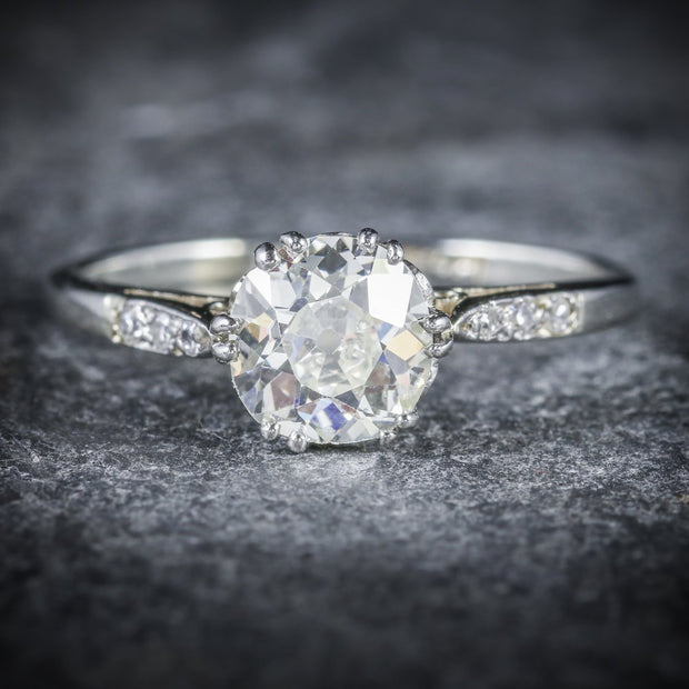 VINTAGE DIAMOND SOLITAIRE RING PLATINUM 18CT GOLD 1.20CT DIAMOND CIRCA 1920