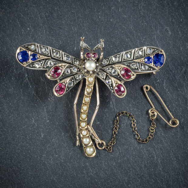 ANTIQUE VICTORIAN DRAGONFLY BROOCH DIAMOND SAPPHIRE RUBY PEARL CIRCA 1900