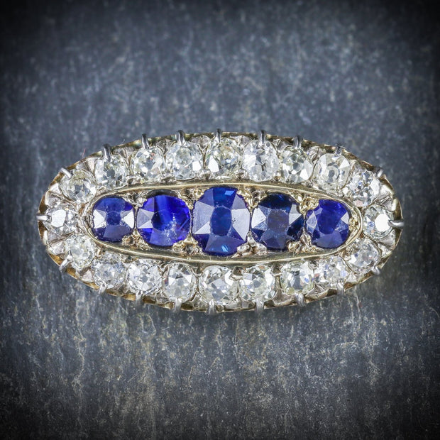 ANTIQUE GEORGIAN SAPPHIRE DIAMOND BROOCH CIRCA 1800
