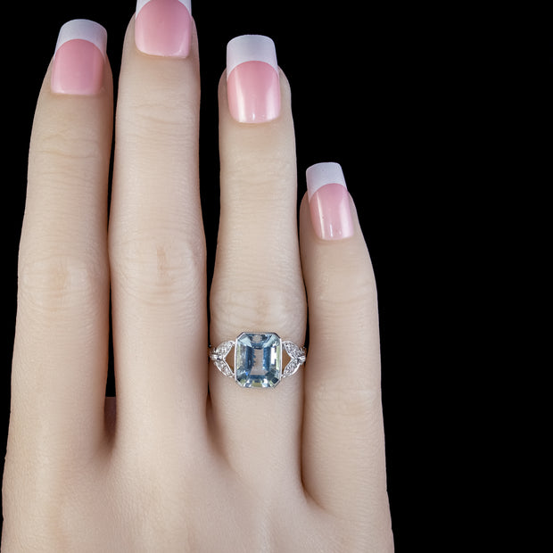 AQUAMARINE DIAMOND RING 18CT GOLD 3CT EMERALD CUT AQUA