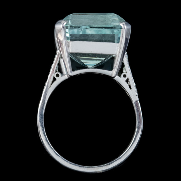 ART DECO AQUAMARINE DIAMOND COCKTAIL RING 18CT WHITE GOLD CIRCA 1930