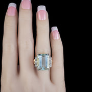 ART DECO AQUAMARINE DIAMOND RING 18CT GOLD 16CT EMERALD CUT AQUA CIRCA 1930