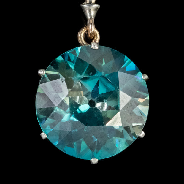 ART DECO BLUE ZIRCON DROP PENDANT 15CT GOLD 12.5CT OF ZIRCON CIRCA 1925 CERT