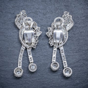 ART DECO DIAMOND CLIP EARRINGS PLATINUM 5CT OF DIAMOND CIRCA 1920