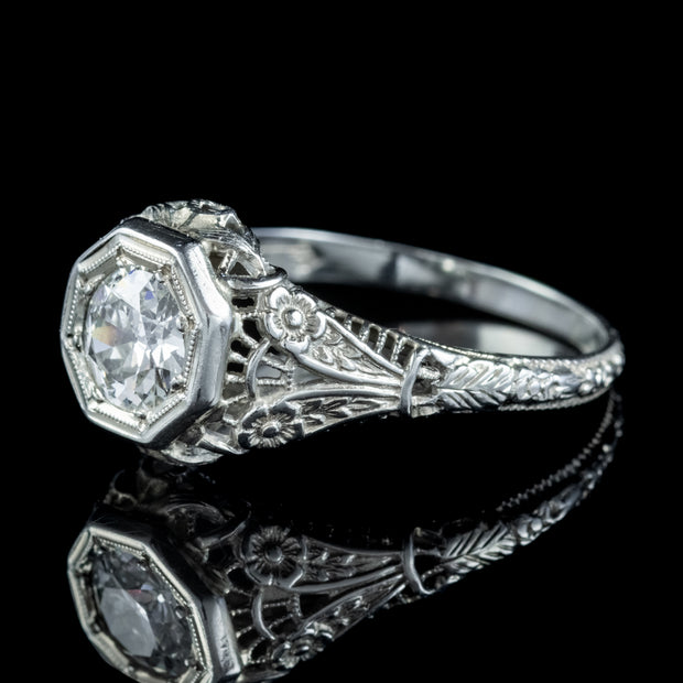 ART DECO DIAMOND ENGAGEMENT RING 18CT WHITE GOLD 1.10CT DIAMOND SOLITAIRE