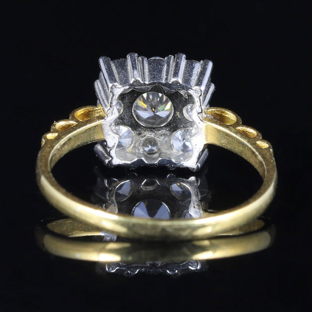 ART DECO PASTE RING 9CT GOLD ON SILVER