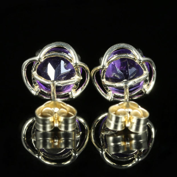 AMETHYST GOLD STUD EARRINGS 9CT GOLD