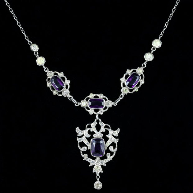AMETHYST PASTE LAVALIERE NECKLACE SILVER