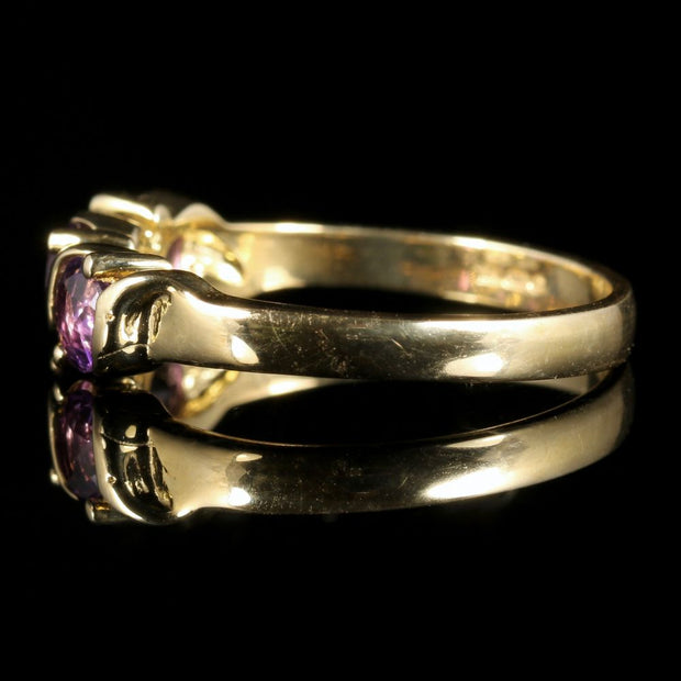 AMETHYST TRILOGY RING 9CT GOLD
