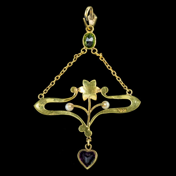Antique-Art-Nouveau-Suffragette-Pendant-15ct-Gold-Peridot-Amethyst-Pearl-Circa-1910-BACK