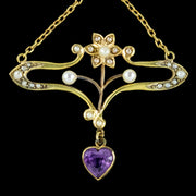 Antique-Art-Nouveau-Suffragette-Pendant-15ct-Gold-Peridot-Amethyst-Pearl-Circa-1910-CLOSE