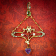 Antique-Art-Nouveau-Suffragette-Pendant-15ct-Gold-Peridot-Amethyst-Pearl-Circa-1910-COVER