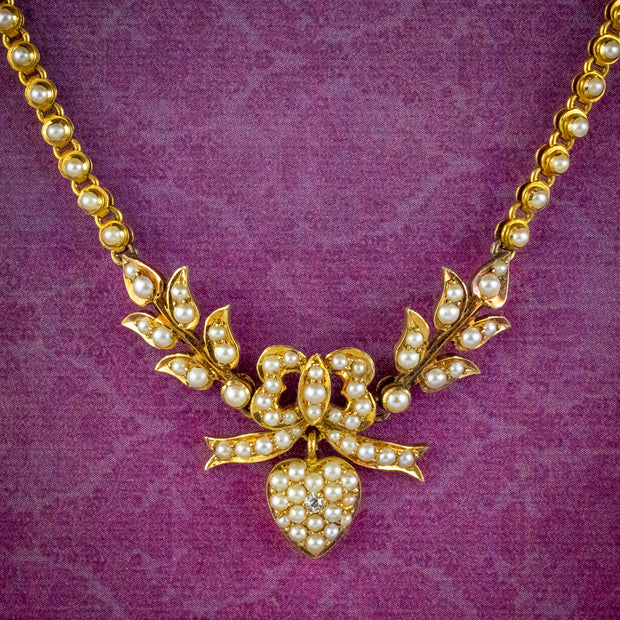 Antique Edwardian Pearl Diamond Heart Swag Necklace 18ct Gold Circa 1905