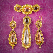 Antique Georgian Brooch And Earring Set 18ct Gold Pink Quartz And Paste Circa 1800 Boxed