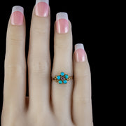 Antique Georgian Forget Me Not Turquoise Ruby Ring Circa 1800
