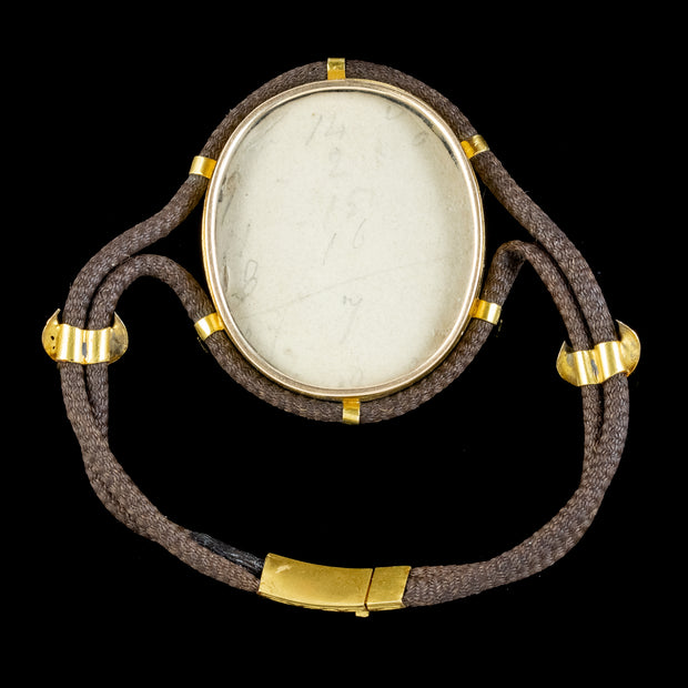 Antique Georgian Mourning Hair Locket Bracelet 18ct Gold Circa 1820