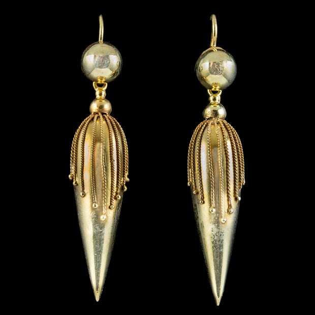 Antique Victorian Etruscan Revival Earrings Pinchbeck 18ct Gold Gilt Circa 1870