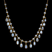 Antique Victorian Garland Moonstone Necklace 9ct Gold Circa 1900