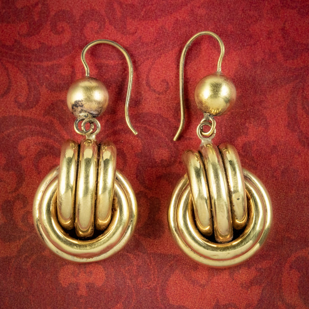 Antique Victorian Love Knot Drop Earrings 15ct Gold Circa 1880