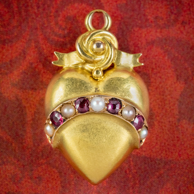 Antique Victorian Ruby Pearl Heart Pendant 15ct Gold Circa 1900