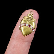 Antique Victorian Ruby Pearl Heart Pendant 15ct Gold Circa 1890