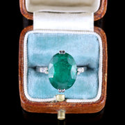 ANTIQUE EDWARDIAN EMERALD DIAMOND RING PLATINUM CIRCA 1910