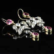 ANTIQUE EDWARDIAN PINK PASTE EARRINGS SILVER GOLD