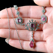 ANTIQUE EDWARDIAN PINK WHITE PASTE NECKLACE SILVER CIRCA 1905