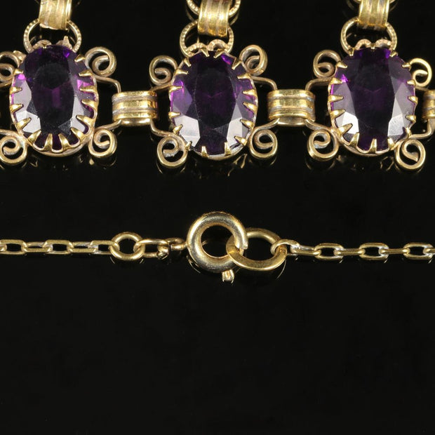 ANTIQUE EDWARDIAN PURPLE PASTE DROPPER NECKLACE CIRCA 1910