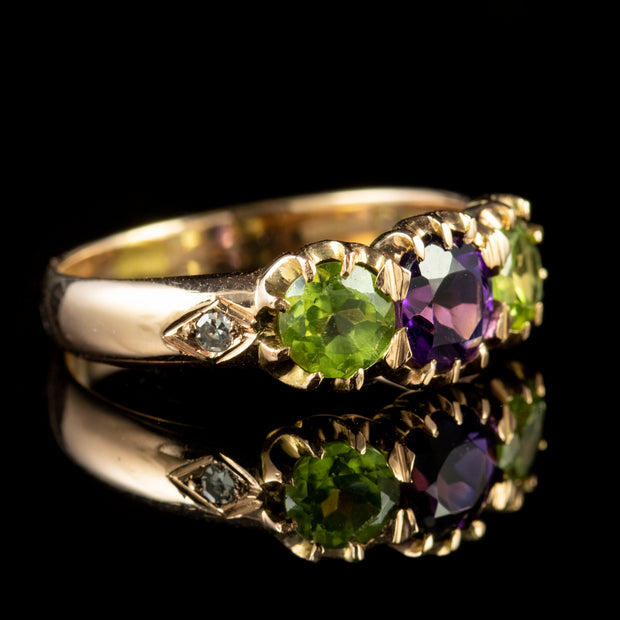 ANTIQUE EDWARDIAN SUFFRAGETTE AMETHYST PERIDOT RING 18CT GOLD CIRCA 1910