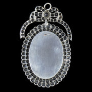 ANTIQUE GEORGIAN MOURNING PASTE LOCKET PENDANT STERLING SILVER CIRCA 1800