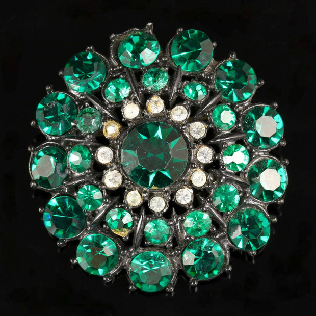 VINTAGE GREEN PASTE COSTUME BROOCH CIRCA 1950