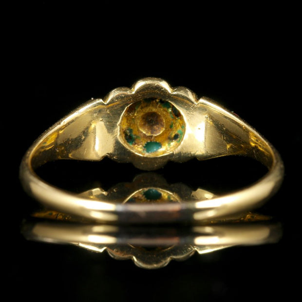 ANTIQUE GEORGIAN TURQUOISE DIAMOND RING 18CT GOLD