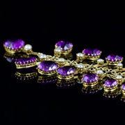 ANTIQUE VICTORIAN 18CT AMETHYST PEARL GARLAND NECKLACE CIRCA 1880