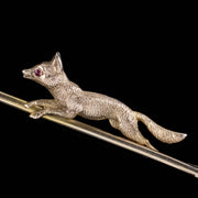 ANTIQUE VICTORIAN FOX AND CROP RIDING BROOCH 9CT GOLD DATED 1873