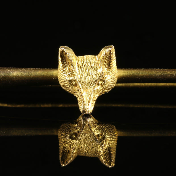 ANTIQUE VICTORIAN HUNTING FOX AND HORN BROOCH 9CT GOLD CIRCA 1880